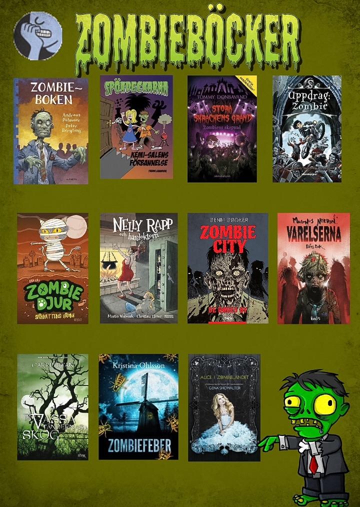 Affisch med zombieböcker som Ullis Tjärnberg Snättringeskolans  skolbibliotek gjort 59aab63836e09